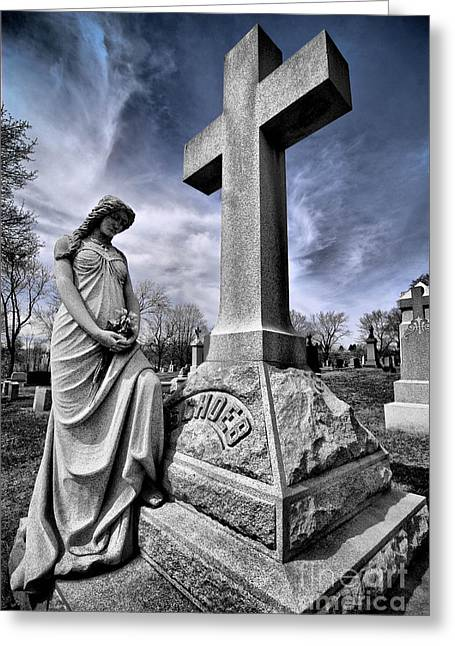 Headstones Greeting Cards - Dramatic gravestone with cross and guardian angel Greeting Card by Amy Cicconi