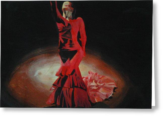 Women Sports Artist Greeting Cards - Dramatic in scarlet Greeting Card by Cherise Foster