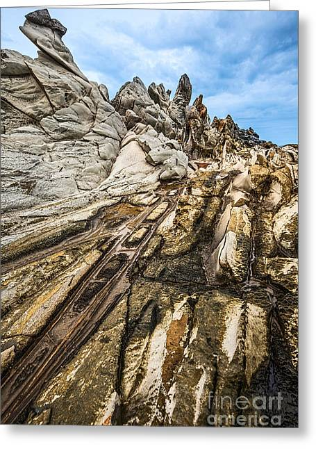 Layer Greeting Cards - Dramatic lava rock formation called the Dragons Teeth in Maui. Greeting Card by Jamie Pham