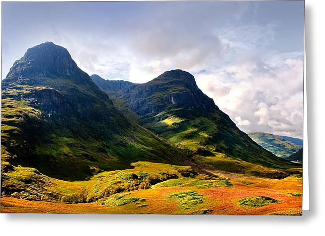 Unique View Greeting Cards - Dramatic Light. Three Sisiters. Glencoe Greeting Card by Jenny Rainbow