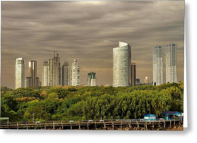 Buenes Aires Guide Greeting Cards - Dramatic Modern Buenos Aires Greeting Card by For Ninety One Days