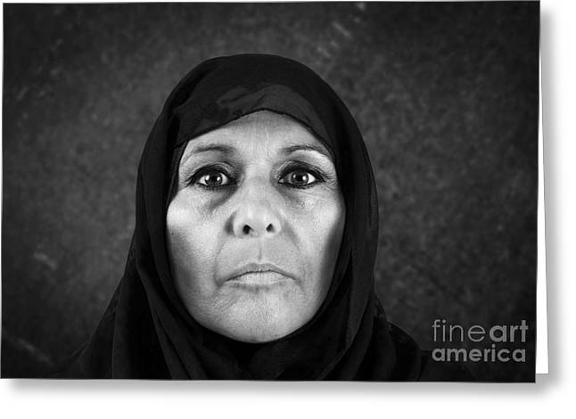 Distraught Greeting Cards - Dramatic muslim woman in bw Greeting Card by Sylvie Bouchard