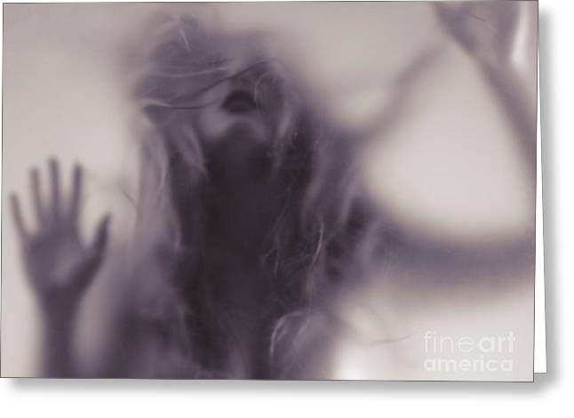 Despair Greeting Cards - Dramatic photo of woman blurred silhouette behind hazy glass Greeting Card by Oleksiy Maksymenko
