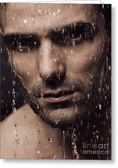 Shower Head Photographs Greeting Cards - Dramatic portrait of man face with water pouring over it Greeting Card by Oleksiy Maksymenko