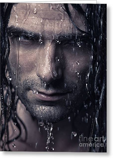Shower Head Photographs Greeting Cards - Dramatic portrait of man wet face with long hair Greeting Card by Oleksiy Maksymenko