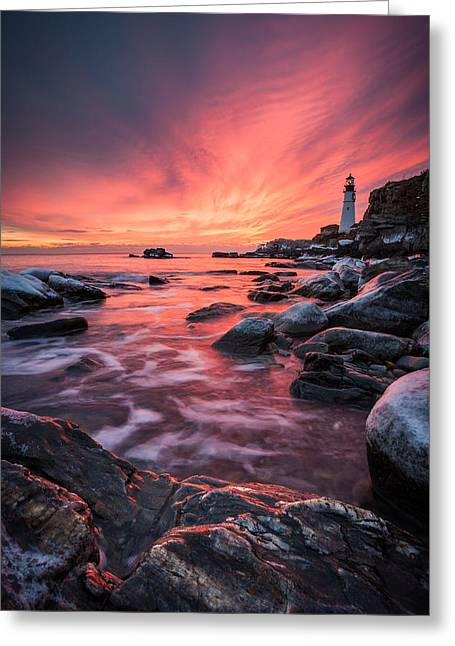 40mm Greeting Cards - Dramatic Sunrise on the Coast of Maine Greeting Card by Benjamin Williamson