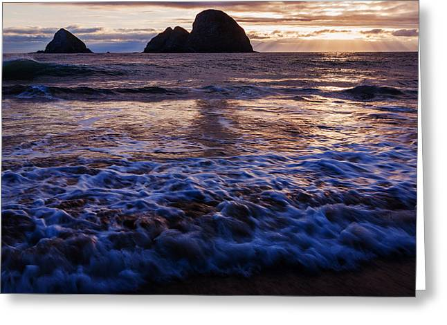 Reflection Of Sun In Clouds Greeting Cards - Dramatic sunset Oregon Coast USA Greeting Card by Vishwanath Bhat