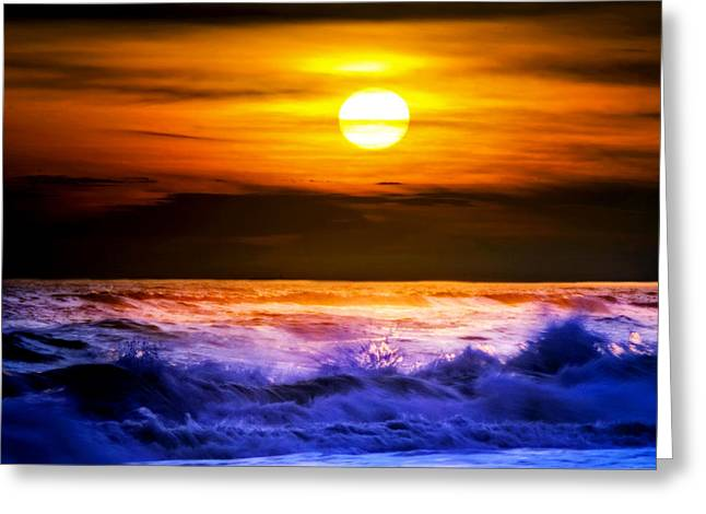 Amazing Sunset Greeting Cards - Dramatic Sunset Over Waves Greeting Card by Vicki Jauron