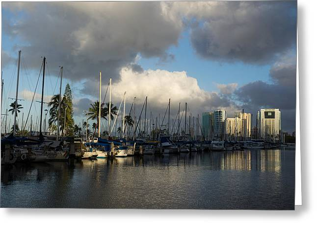 Blue Sailboats Greeting Cards - Dramatic Tropical Storm Light Over Honolulu Hawaii  Greeting Card by Georgia Mizuleva