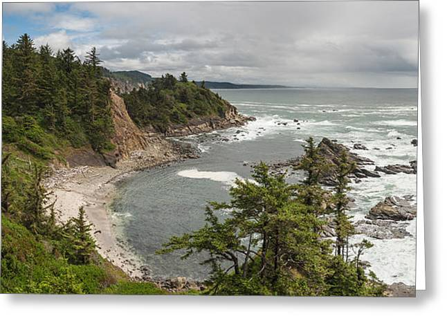 Best Sellers -  - State Parks In Oregon Greeting Cards - Dramatic wild coast Pacific Ocean panorama Oregon Greeting Card by William Fawcett