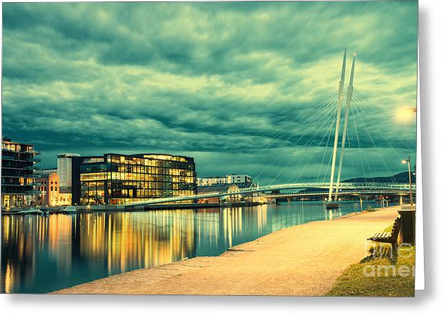 Moody Pyrography Greeting Cards - Drammen at night Greeting Card by Hessam Moussavinik