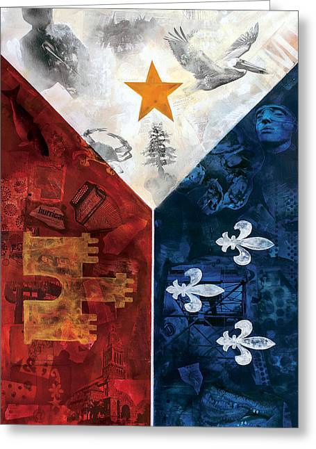 Cajun Greeting Cards - Drapeau Du Acadie Greeting Card by Giorgio Russo