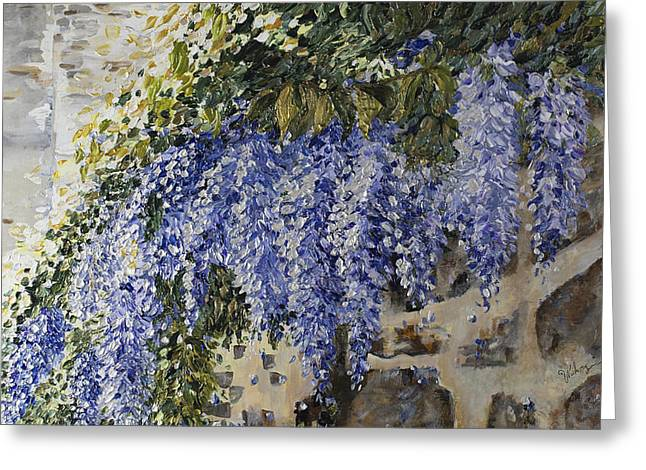 Wisteria On Wall Greeting Cards - Draped in Wisteria Greeting Card by Nahzy Tabrizi