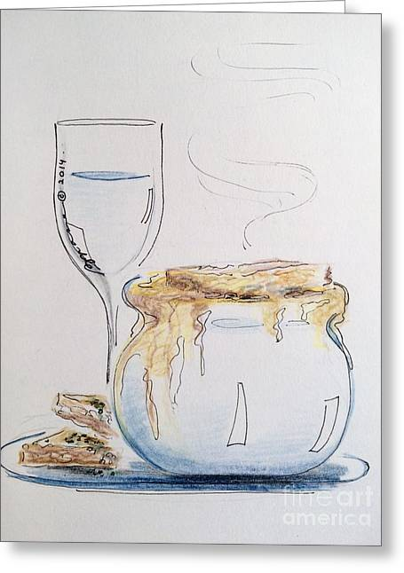 Wine Sipping Drawings Greeting Cards - Drapingly Delicious Greeting Card by Barbara Chase
