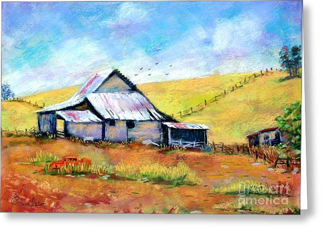 Etc. Pastels Greeting Cards - Drapper Valley Barn Greeting Card by Bruce Schrader