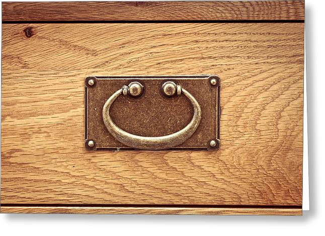 Wooden Drawers Greeting Cards - Drawer handle Greeting Card by Tom Gowanlock