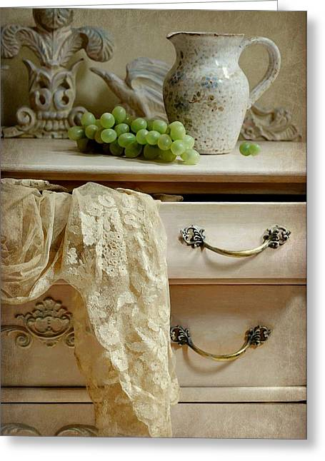 Still Life With Pitcher Greeting Cards - Drawer of Lace Greeting Card by Diana Angstadt
