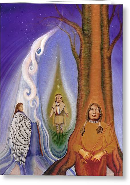 Native American Spirit Portrait Greeting Cards - Drawing Family Together Greeting Card by Robin Aisha Landsong