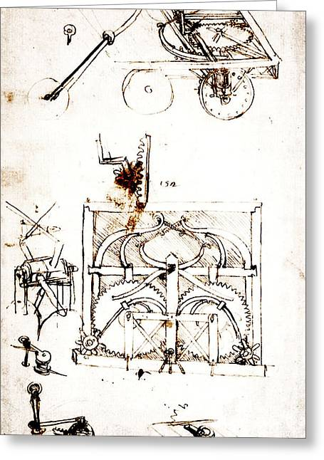 Mechanism Drawings Greeting Cards - Drawing For an Automobile Mechanisms Greeting Card by Leonardo da Vinci