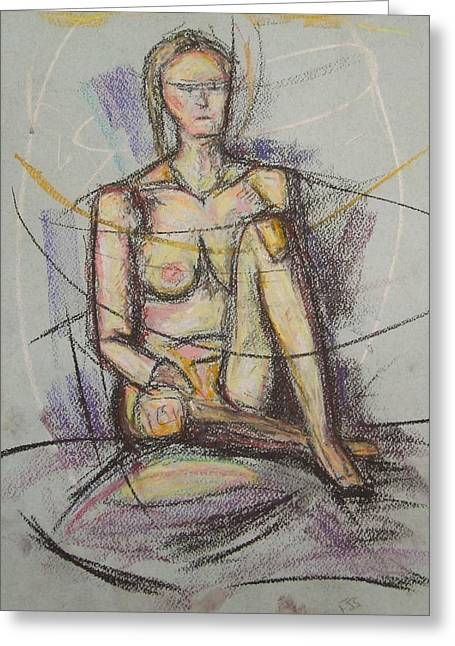 Yellow Line Pastels Greeting Cards - Drawing girl yellow  Greeting Card by Fanoulla  Sergiou