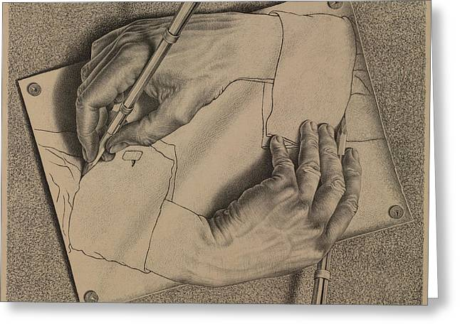 Drawing Hands Greeting Card by Maurits Cornelis Escher