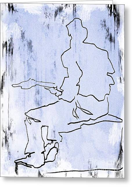 Guitar Player Drawings Greeting Cards - Drawing Greeting Card by John Malone
