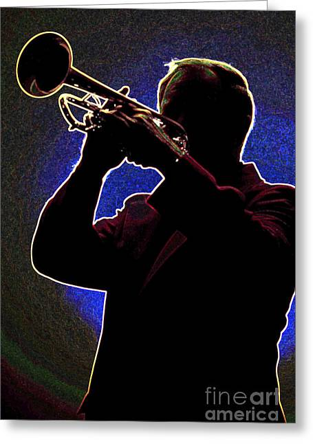 Player Drawings Greeting Cards - Drawing of a Silhouette of Trumpet Player in Color 3019.03 Greeting Card by M K  Miller