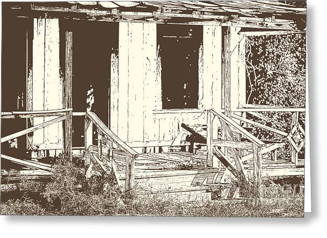 Abandoned Houses Drawings Greeting Cards - Drawing of an old house with porch in brown 3000.04 Greeting Card by M K  Miller