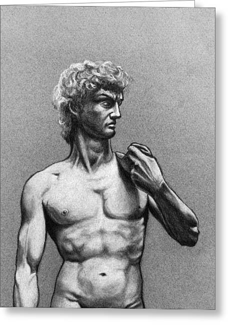 Michelangelo Pastels Greeting Cards - Drawing of Michelangelos David Greeting Card by David Clode