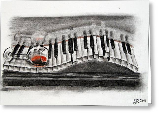 Goblet Drawings Greeting Cards - Drawing of Overturned Glass of red wine on piano keyboard Greeting Card by A R