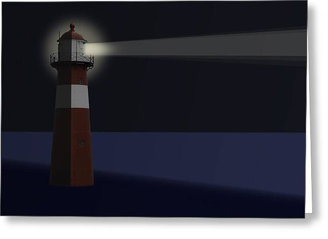 Dutch Lighthouse Greeting Cards - Drawing of tarditional dutch Lighthouse Greeting Card by Wout Kok