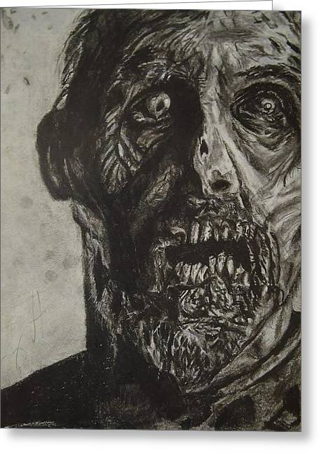 Rick Grimes Greeting Cards - Drawing of The Walking Dead zombie Greeting Card by Tony Orcutt