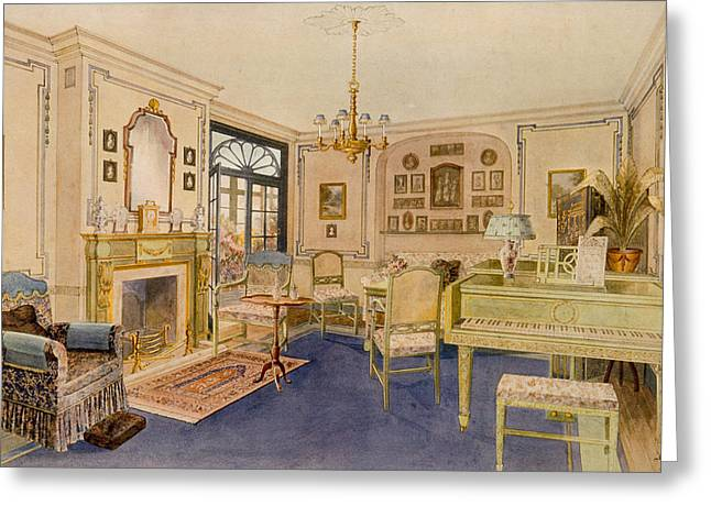 Interior Decorating Drawings Greeting Cards - Drawing Room Adam Revival Style Greeting Card by Richard Goulburn Lovell