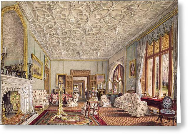 Mirror Drawings Greeting Cards - Drawing Room In The Gothic Style, C.1850 Greeting Card by Thomas Mann Baynes