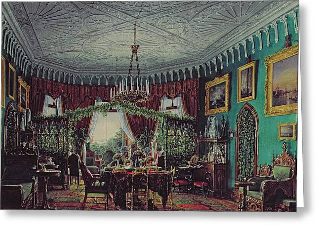Trellis Photographs Greeting Cards - Drawing Room Of Empress Alexandra Feodorovna 1798-1860 1850s Wc On Paper Greeting Card by Eduard Hau
