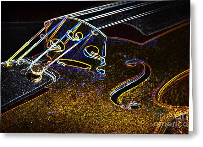 Still Life Photographs Greeting Cards - Drawing Viola Violin String Bridge Close in Color 3076.04 Greeting Card by M K  Miller