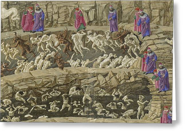 Divine Comedy Greeting Cards - Drawings for Dantes Divine Comedy Greeting Card by Sandro Botticelli