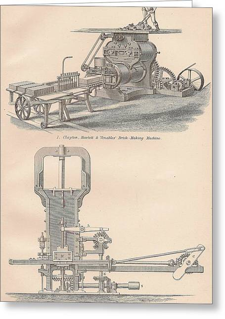 Mechanism Drawings Greeting Cards - Drawings of a brick making machine Greeting Card by Anon
