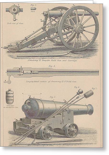 Powder Drawings Greeting Cards - Drawings of a large Gun Greeting Card by Anon