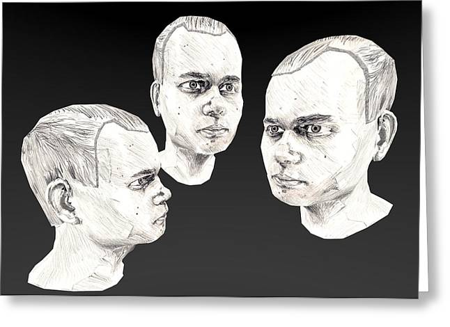 Graphite Digital Greeting Cards - Drawn self portrait in 3D Greeting Card by Oliver Pennanen