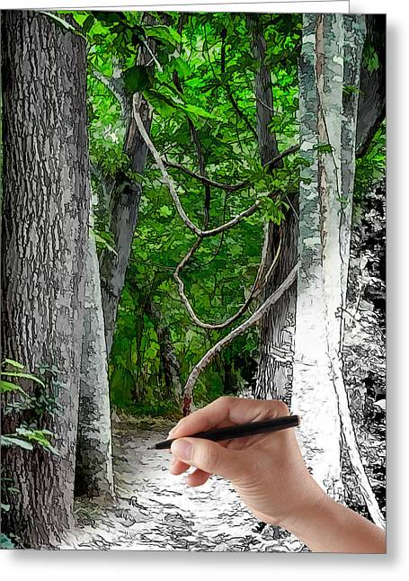 Drawn To The Woods With Imagination Greeting Card by John Haldane