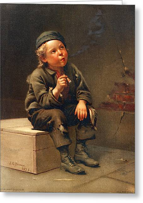 Little Boy Greeting Cards - Draws Easy Smoking A Cigar Greeting Card by Bendke and Scott