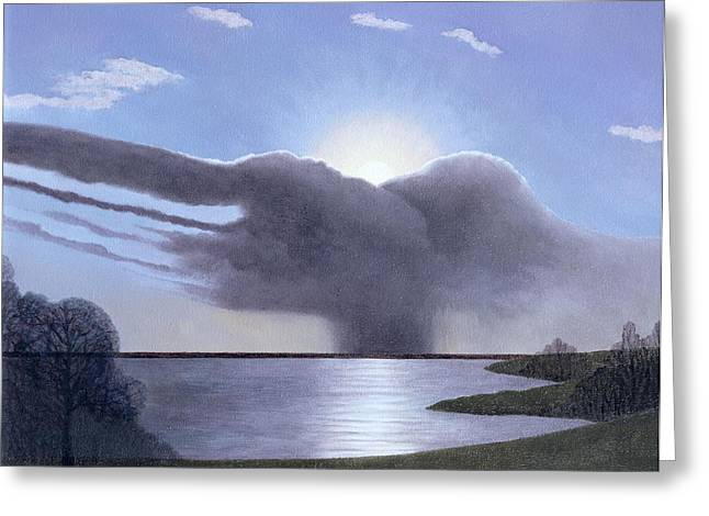 Lining Greeting Cards - Draycote Cloud, 2004 Oil On Canvas Greeting Card by Ann Brain