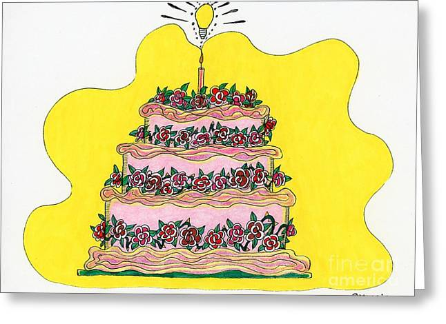 Culinary Drawings Greeting Cards - Dream Cake Greeting Card by Mag Pringle Gire