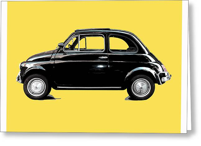 Fiat 500 Greeting Cards - Dream Car Yellow Greeting Card by Steffi Louis