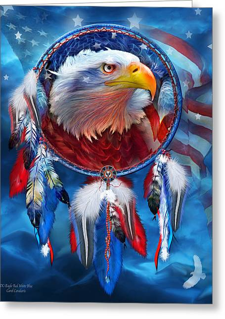 Independence Day Mixed Media Greeting Cards - Dream Catcher - Eagle Red White Blue Greeting Card by Carol Cavalaris
