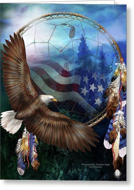 Eagle Feathers Greeting Cards - Dream Catcher - Freedoms Flight Greeting Card by Carol Cavalaris