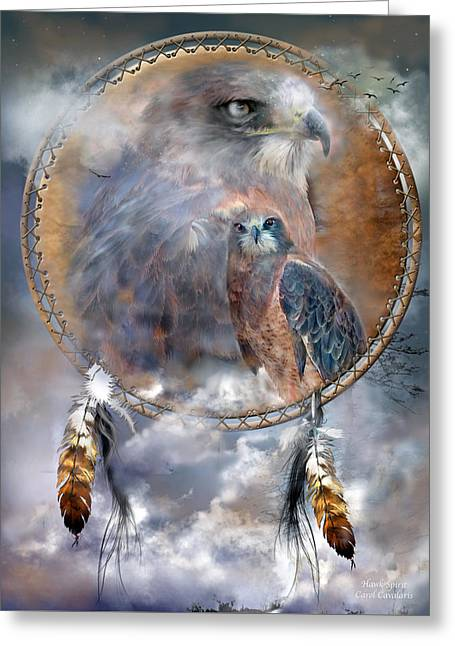 Dream Catcher - Hawk Spirit Greeting Card by Carol Cavalaris