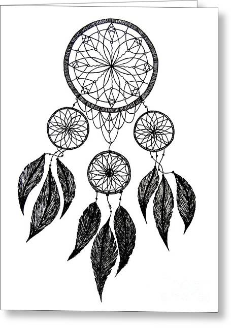 Hoodies Drawings Greeting Cards - Dream Catcher Greeting Card by Meenakshi Shrivastava