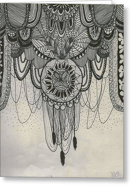 Dream Tapestries - Textiles Greeting Cards - Dream Catcher Original Greeting Card by Grace Bell